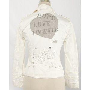 Stefanel Cream Graphic Embellished Jacket/Blazer